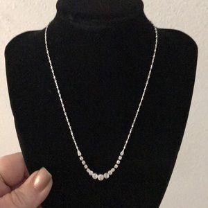 NWOT Rhinestone Drop Silver necklace.